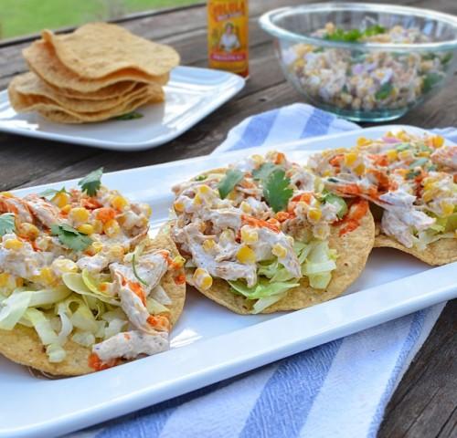 Grilled chicken and corn salad tostadas