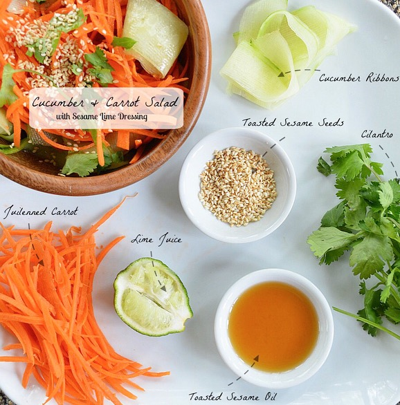 Cucumber & Carrot Salad with Sesame Lime Dressing