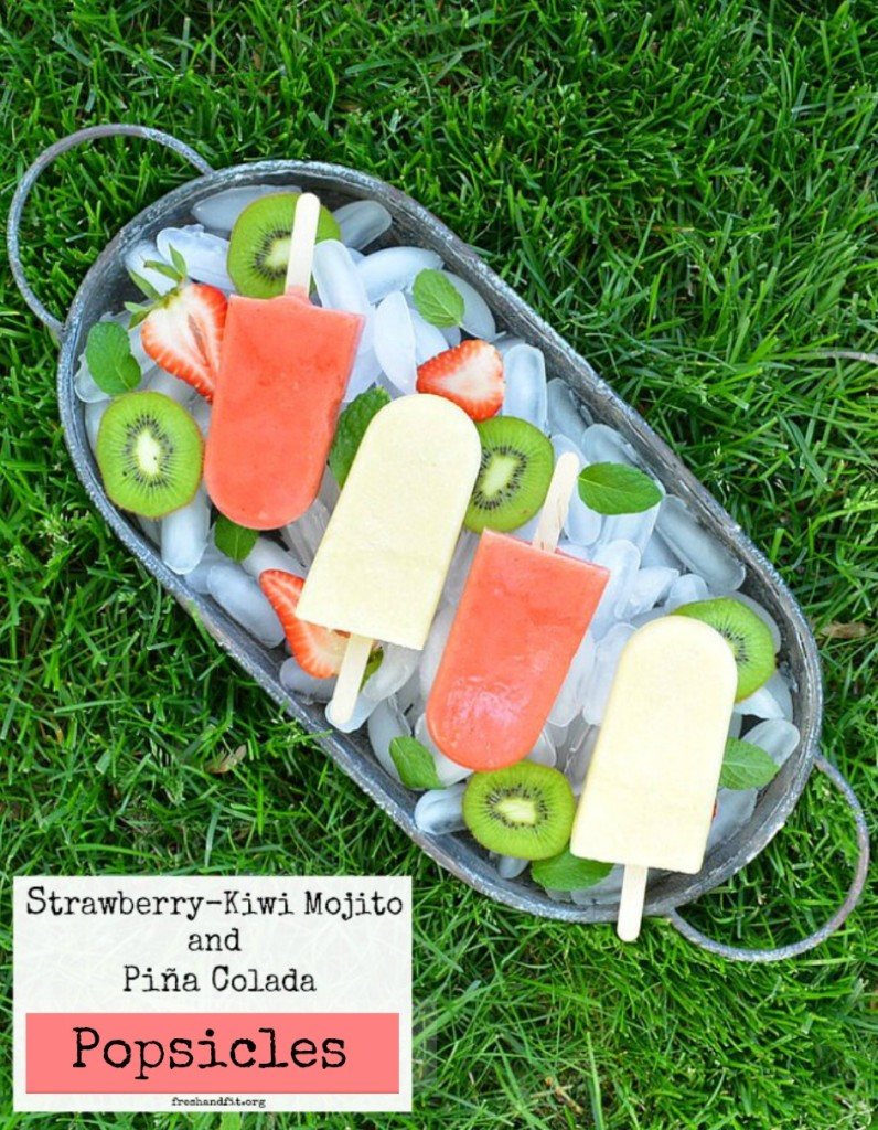 strawberry kiwi and pina colada popsicles