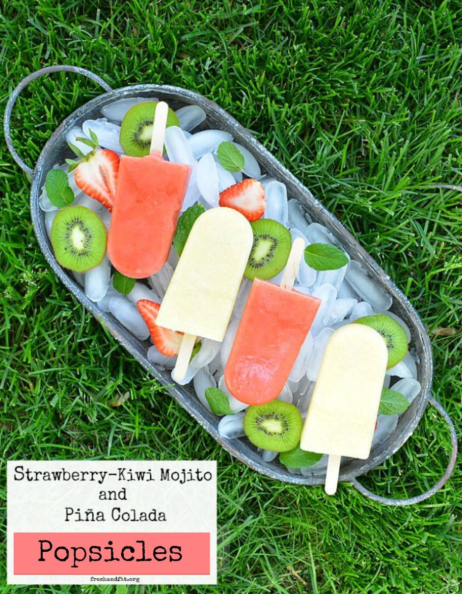 Strawberry-Kiwi Mojito and Pina Colada Popsicles