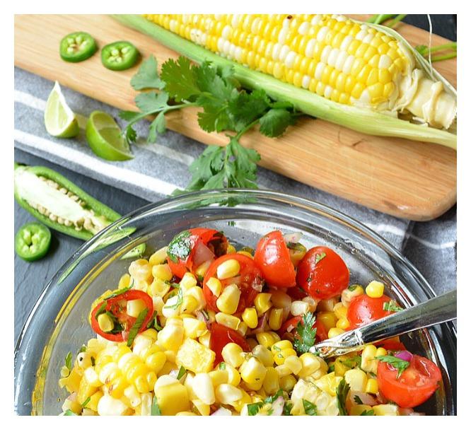 Tropical Corn Salad with Honey Jalapeño Dressing