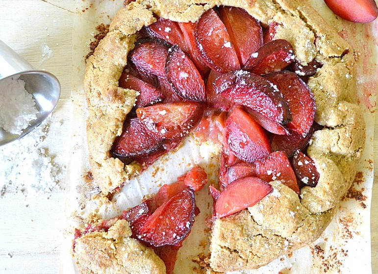Summer Plum Galette with Almond Oat Crust