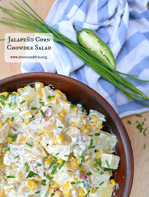 Jalapeño Corn Chowder Salad by freshandfit.org