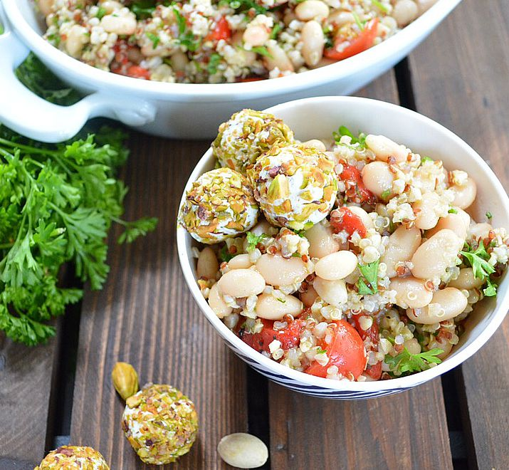 Mediterranean Quinoa Bowls with Pistachio Crusted Goat Cheese