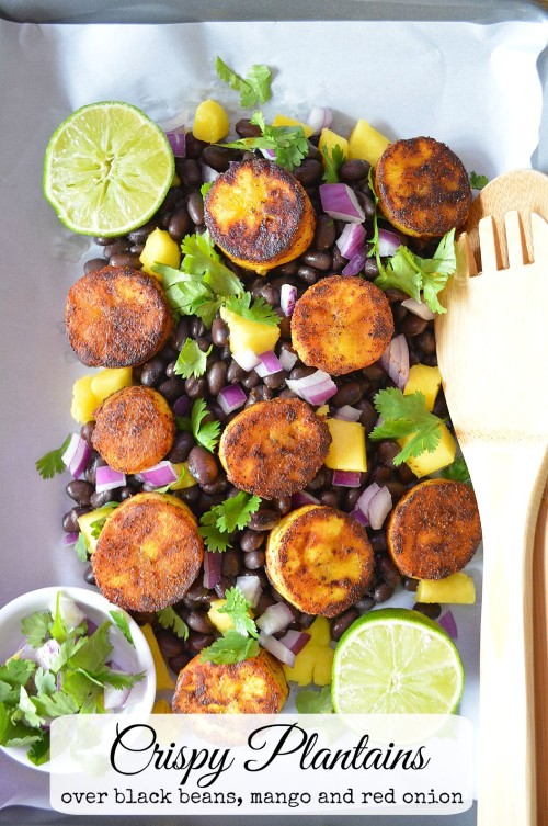 Crispy Plantains Over Black Beans, Mango and Red Onion
