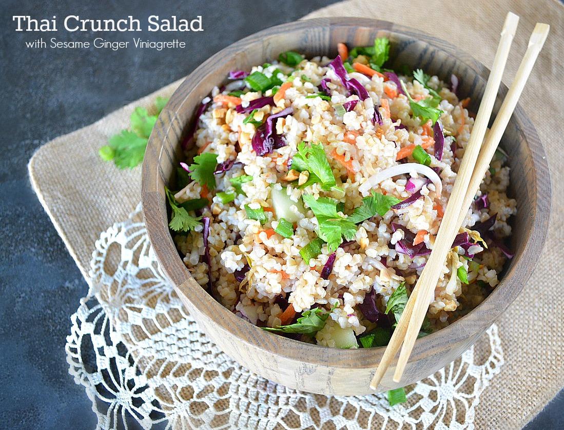 Thai Crunch Salad with Sesame Ginger Vinaigrette