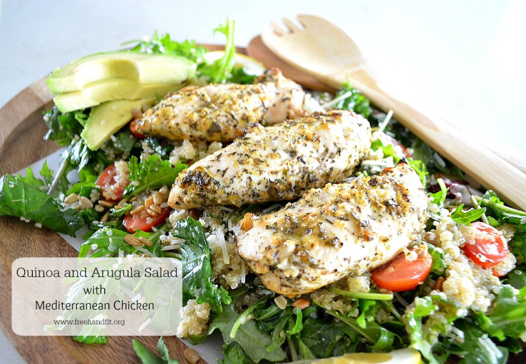 Quinoa and Arugula Salad with Mediterreanean Chicken jpg