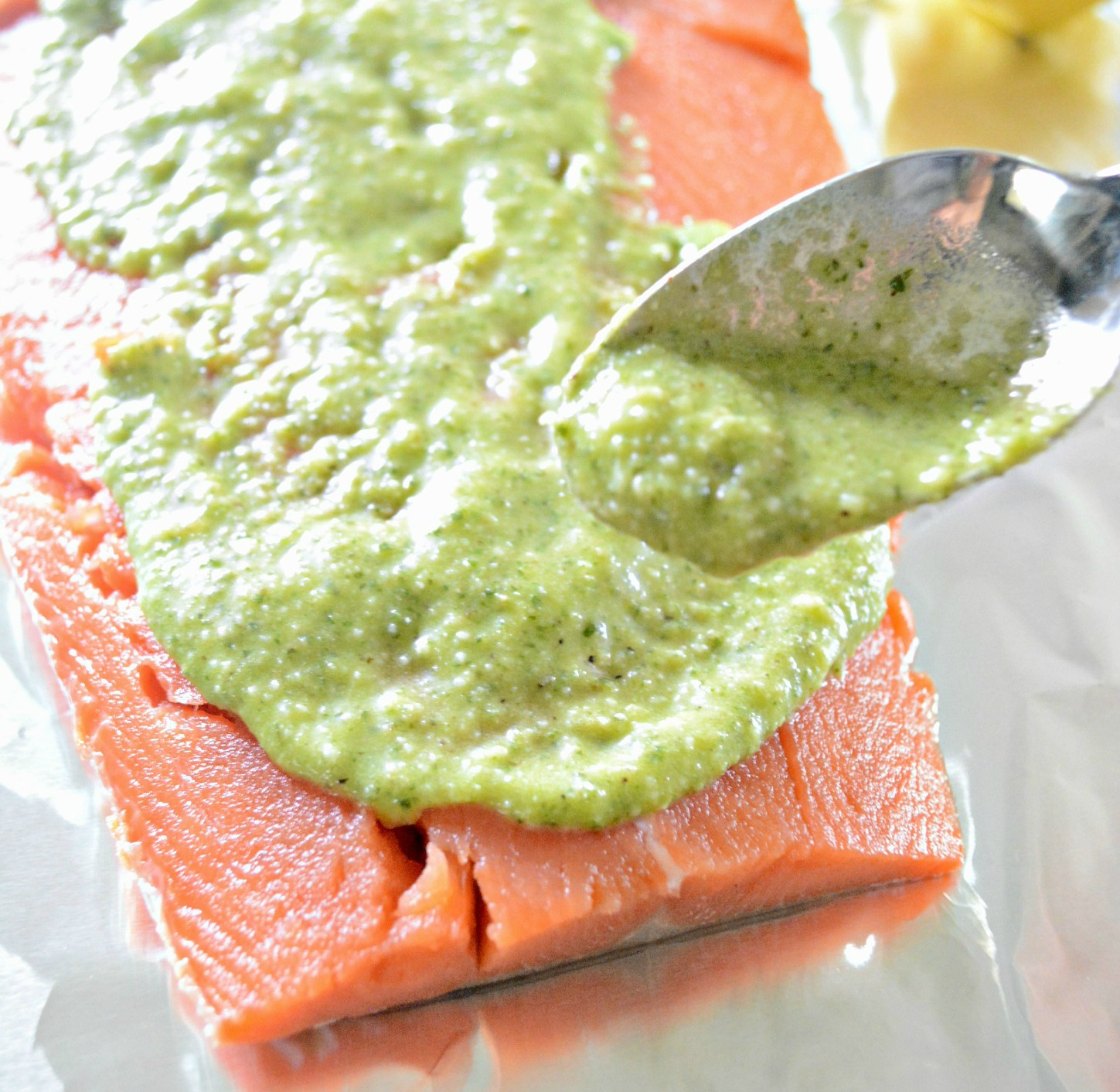 Lemon Walnut Pesto Grilled Salmon
